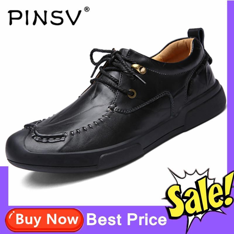 Pinsv Kulit Asli Pria Sepatu Sepatu Kasual Bisnis (Hitam) e8329d5ad2