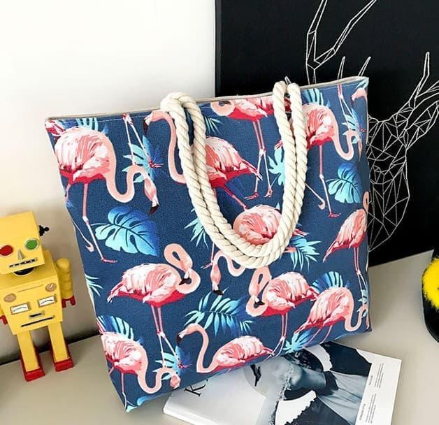 Tc37 Garden Flamingo Printed Canvas Shoulder Tote Bag / Tas Pundak By Yurah Shop.