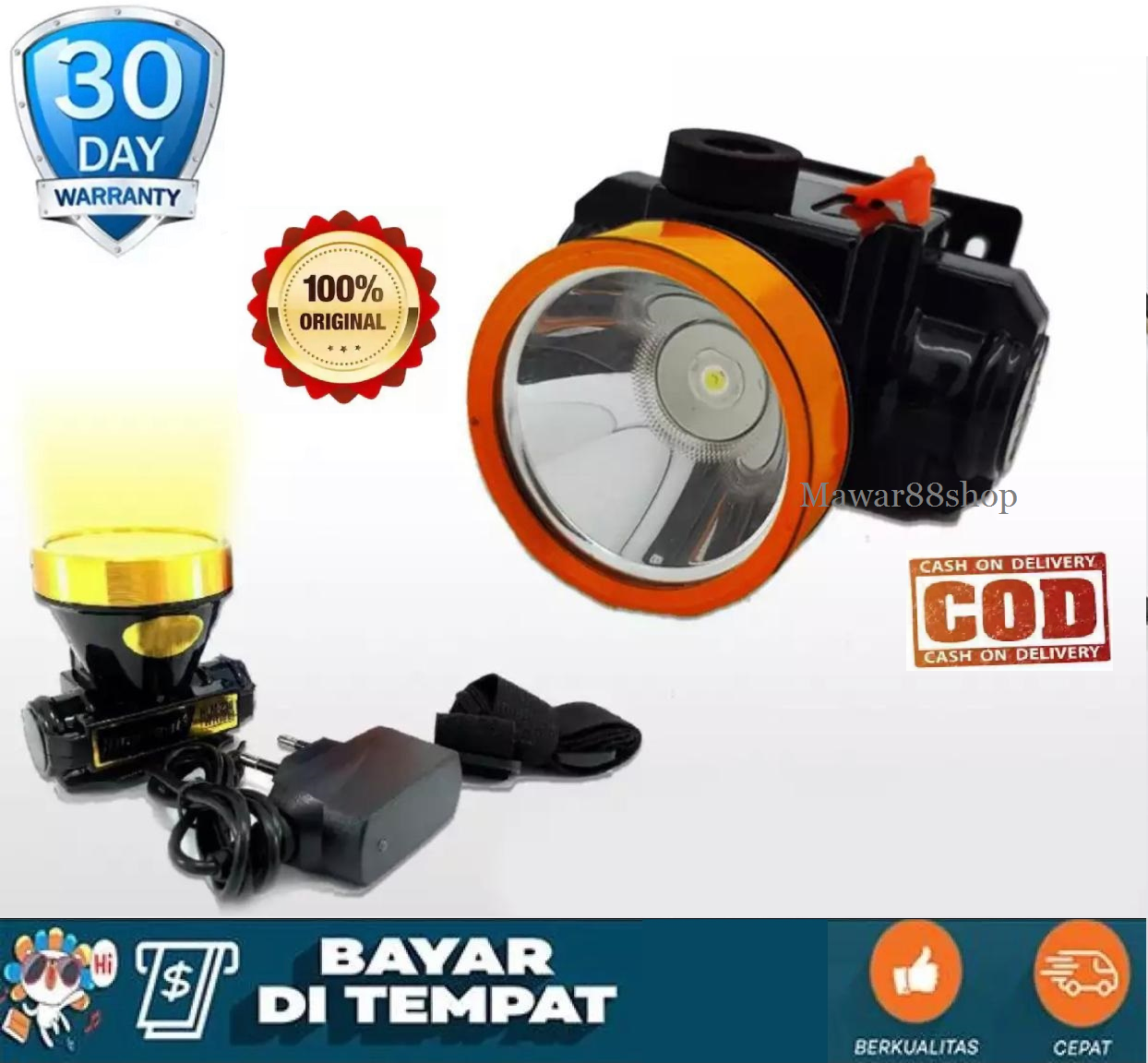 Senter Kepala LED Super Terang MUX 801 LED 10 Watt Rechargeable Headlamp Camping / Mawar88shop