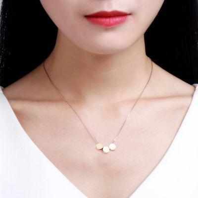 Necklace Lucky Three Small Round Necklace Titanium Steel 18k Rose Gold / Kalung Titanium Wanita By Toko Susu