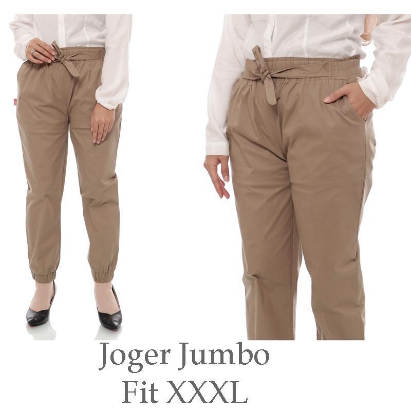 Celana Joger Wanita Jumbo Katun Stretch - Fit XXXL