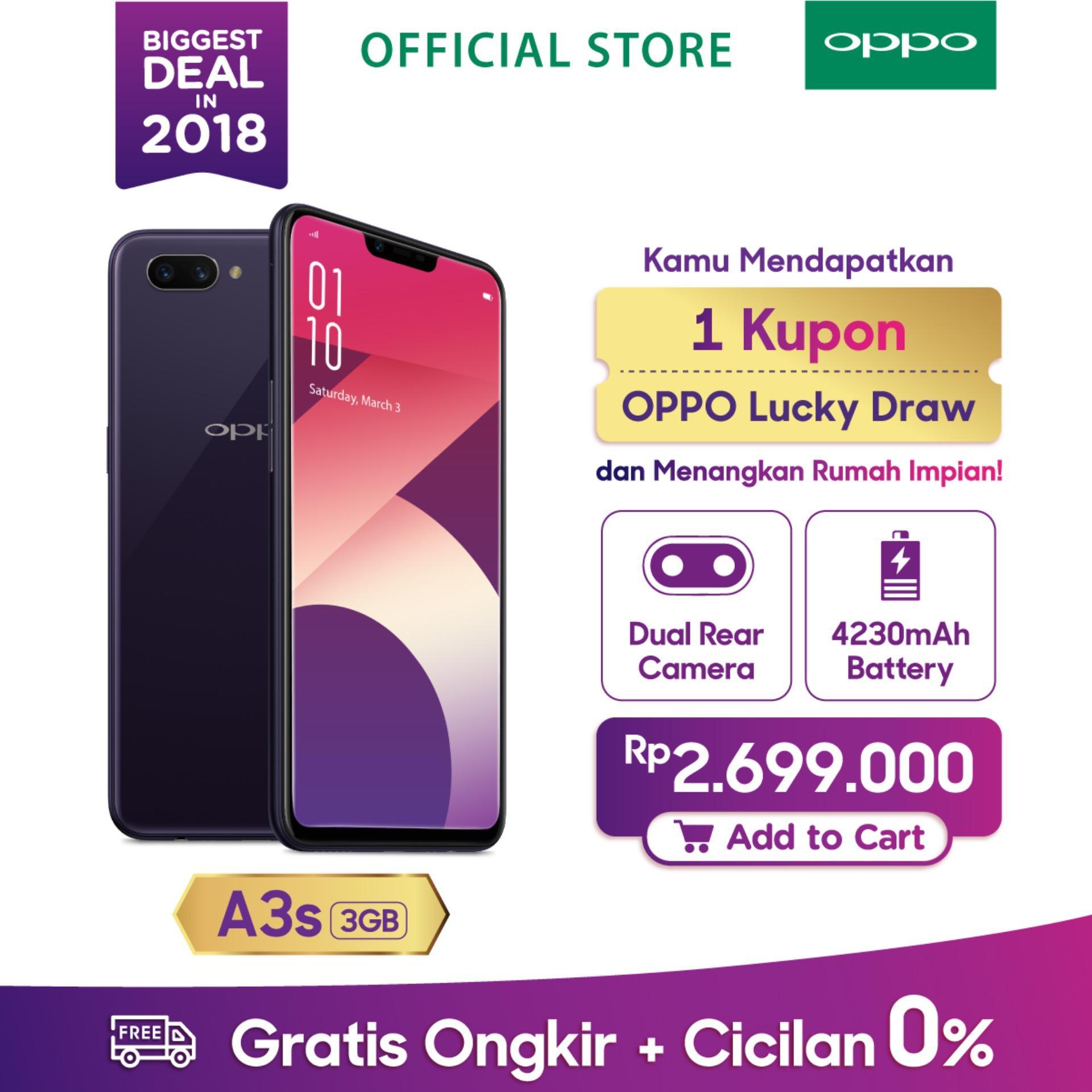 OPPO A3S SMARTPHONE 3GB/32GB , A.I Beauty, Dual Camera, Super Full Screen (COD, Garansi Resmi OPPO, Cicilan tanpa kartu kredit, Cicilan 0%, Gratis Ongkir)