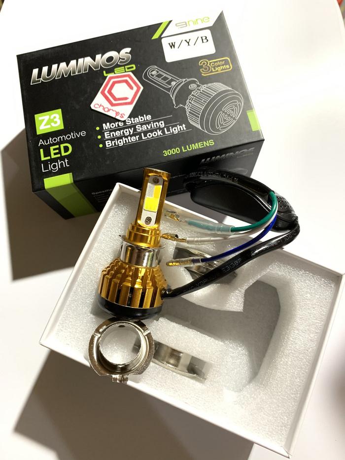 Lampu Depan LED Z3 3 sisi 3 warna H6 H4 Putih Kuning Ice Blue Luminos Motor