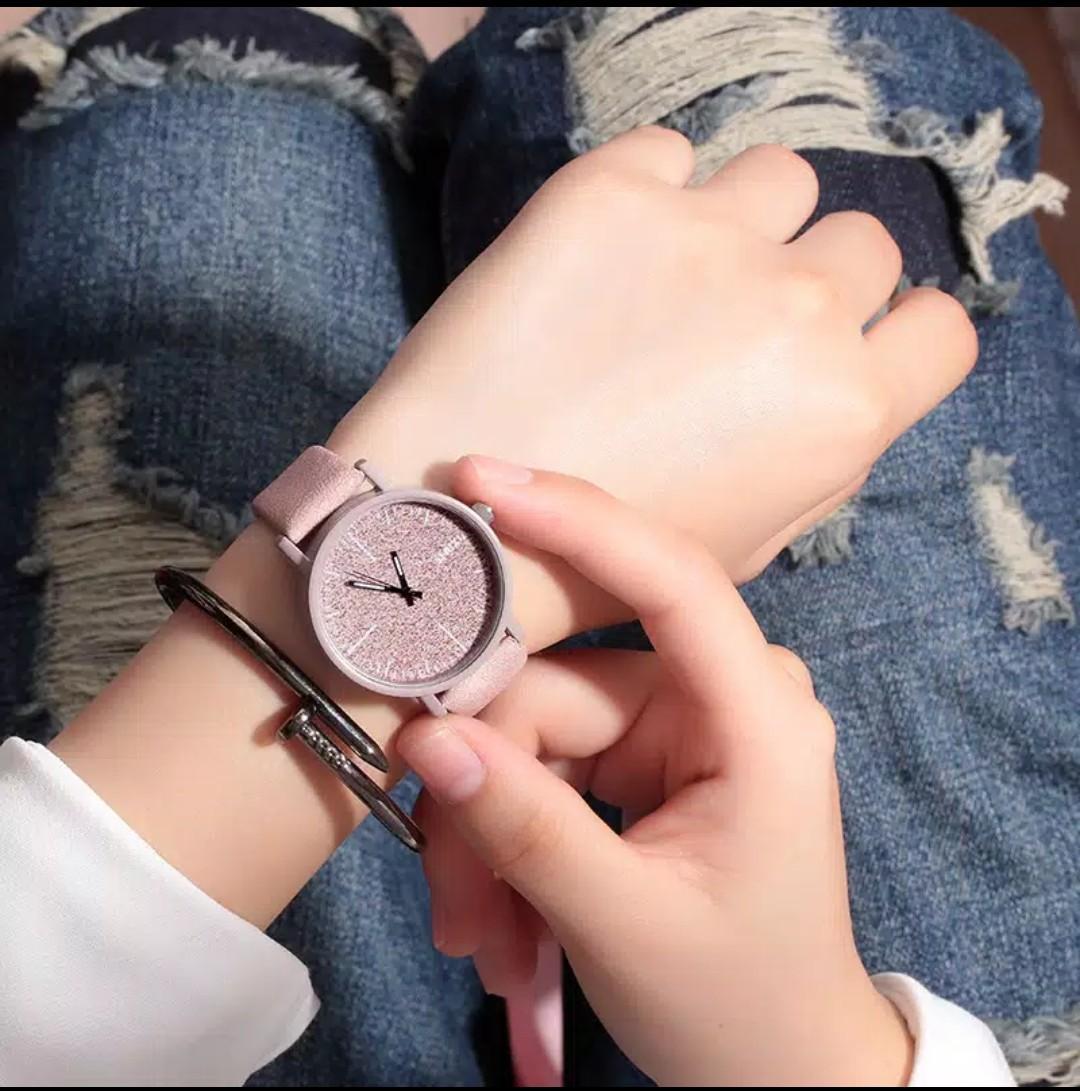 sunny/b2/jam tangan wanita/jam tangan gaya korea/jam tangan quartz anti air/jam tangan kulit wanita