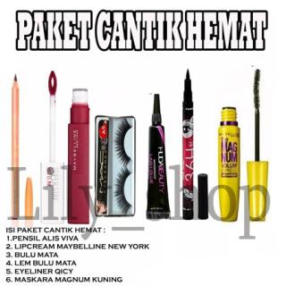 LILY- PAKET CANTIK MURAH (pa.vva, Lipstik maybeline, bulu mata, lem bulu mata, qicy, mascara maybelline LILY thumbnail