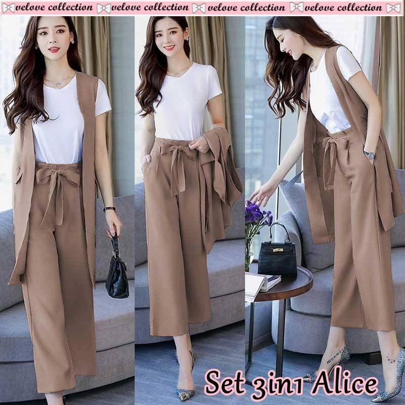 stelan wanita / set pakaian 3in1 / St 3in1 alice / pakaian wanita / atasan wanita