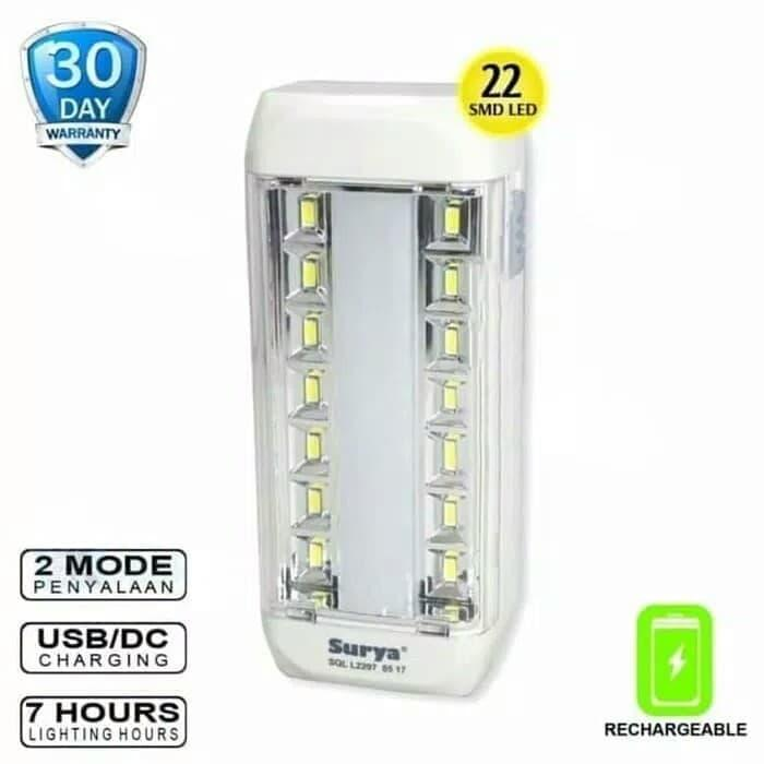 Surya Senter Led Super Terang 2 In 1 Led 3 Watt + Light Led 10smd White Light Rechargeable 7 Hours 500 Meter By Kokakaa Living