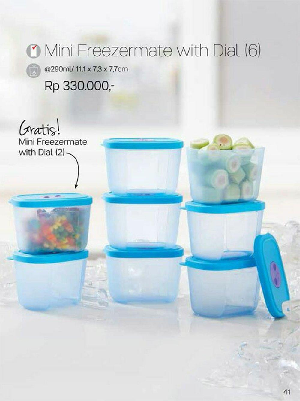 Tupperware Mini Freezermate with Dial 2 Pcs - Biru / Wadah Penyimpanan Makanan dalam Kulkas -