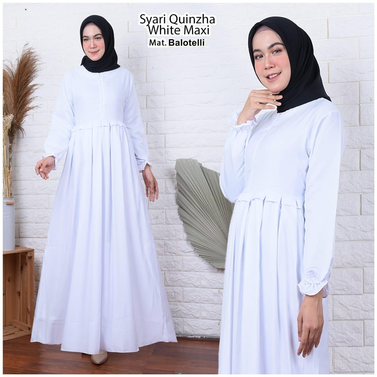 SHAKILA Quinzha Gamis Putih Polos Gamis Pengajian Gamis Manasik Haji Gamis  Syari Gamis Terlaris Gamis Umroh Gamis Murah Gamis Jumbo Dress Syari Gamis