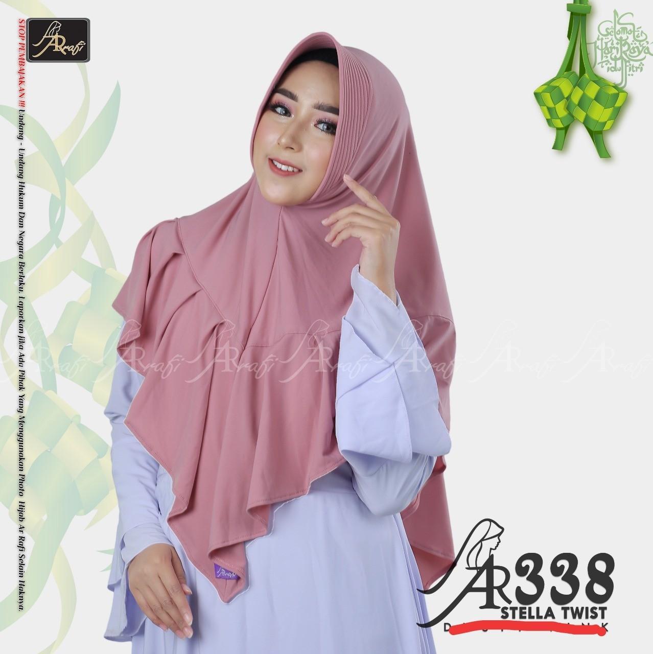 Hijab Arrafi AR 338 Med Pink Jilbab Instan Ar Rafi Bergo Kerudung Khimar