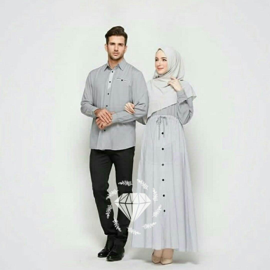 AmorShop Pakaian Couple Azzura 3in1 /Couple Kemeja Pria Dan Setelan Gamis Wanita /Couple Pria Dan W