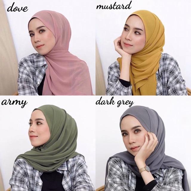(BISA COD) Hijab Pashmina Ceruti Baby Doll Pashmina Malaysia Jilbab Pashmina Ceruty Polos HAURA