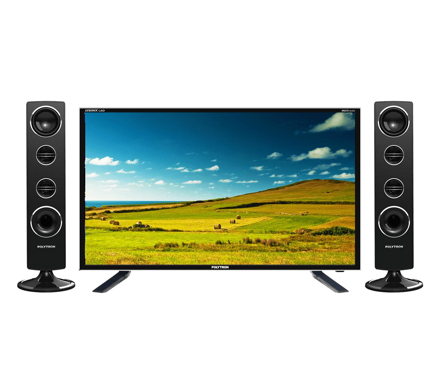 Polytron PLD32T1500 Tower CinemaX TV LED - Hitam [32 Inch] FREE PACK KAYU