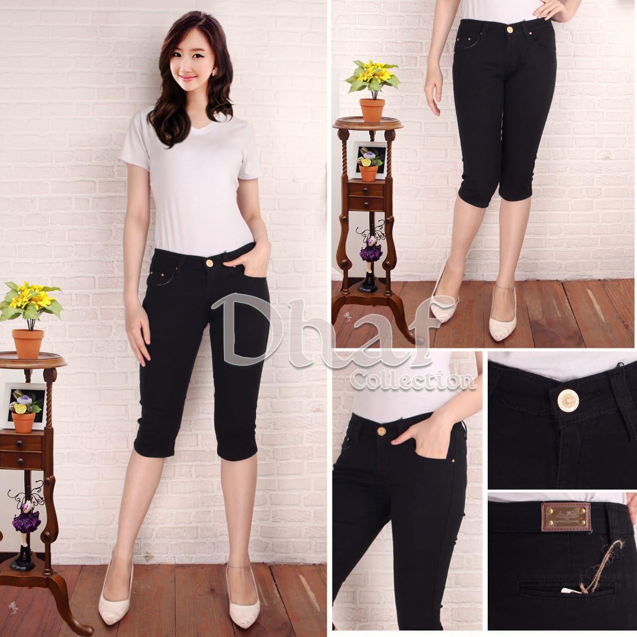 Celana jeans wanita 7/8 bahan melar ngaret street skiny softjeans slimfit pensil ripped denim