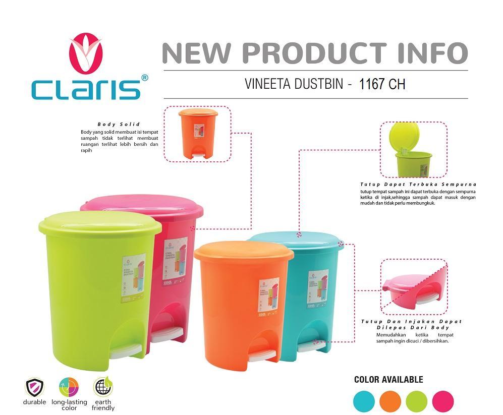 Claris Tempat Sampah Injak 20 Liter / Tempat Sampah Plastik / Vineeta Dustbin 1167 By Claris Official Store.