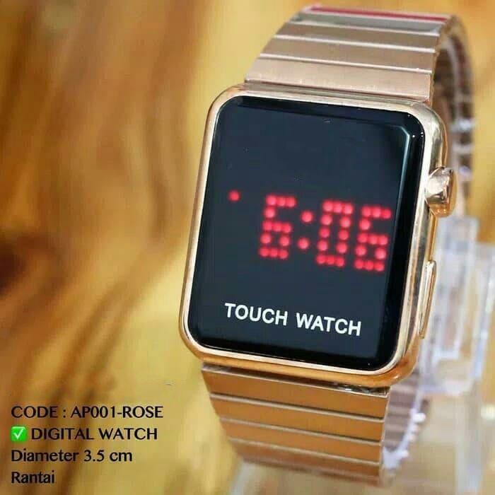 REALPICT!!!!! Promo Termurah Jam Tangan Touch Watch Rantai Stenlist Original  Digital  Batrei Cadangan  Pria Wanita Fashion