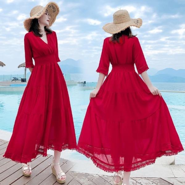 2020 Năm Mùa Hè Mẫu Mới Kiểu Pháp Phong Cách Retro Váy Đi Biển Bó Eo Tôn Dáng Váy Dài Khí Chất Màu Đỏ Giống Nàng Tiên Đầm Nữ