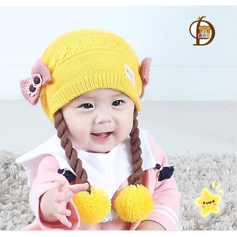 Topi Rambut Kepang / Baby Hat Wig / Topi Bayi Rambut Kepang By Supplierbatam.id.