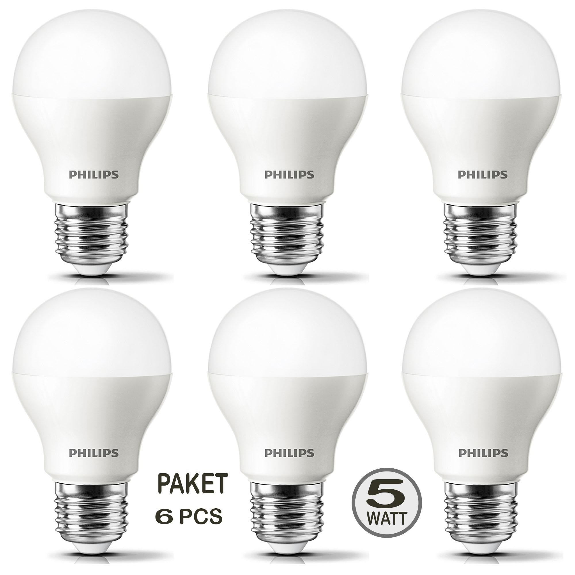 PHILIPS Lampu Led Bulb ESSENTIAL 5W 5Wat 5 W 5 Watt (PAKET 6 PCS)