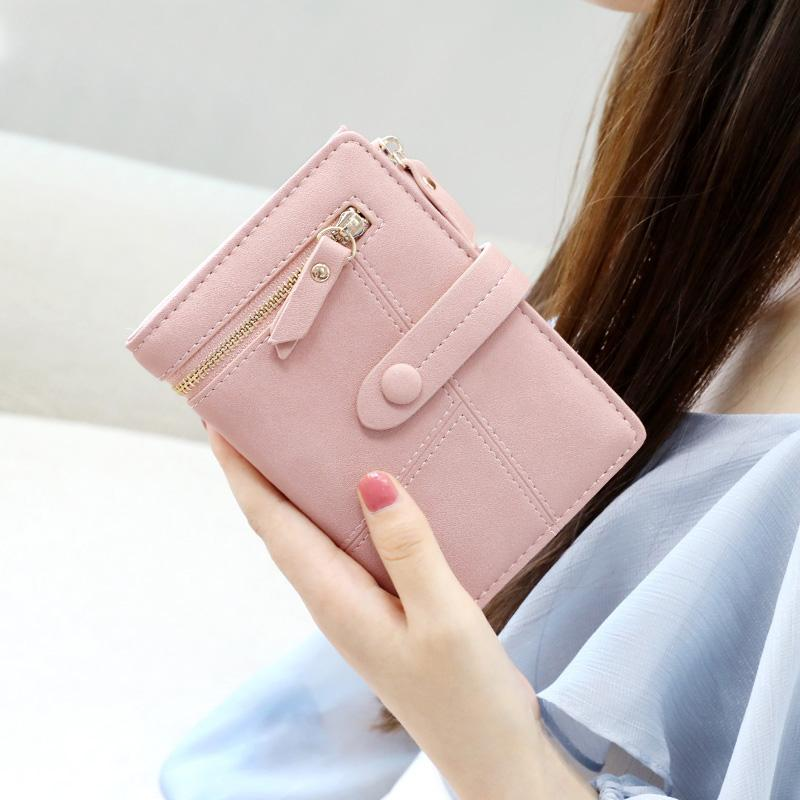 Kqueenstar Womens Wallet 2019 New Style Fashion Korean Style Zipper Multi-functional Hipster Two-fold Folding Wallet