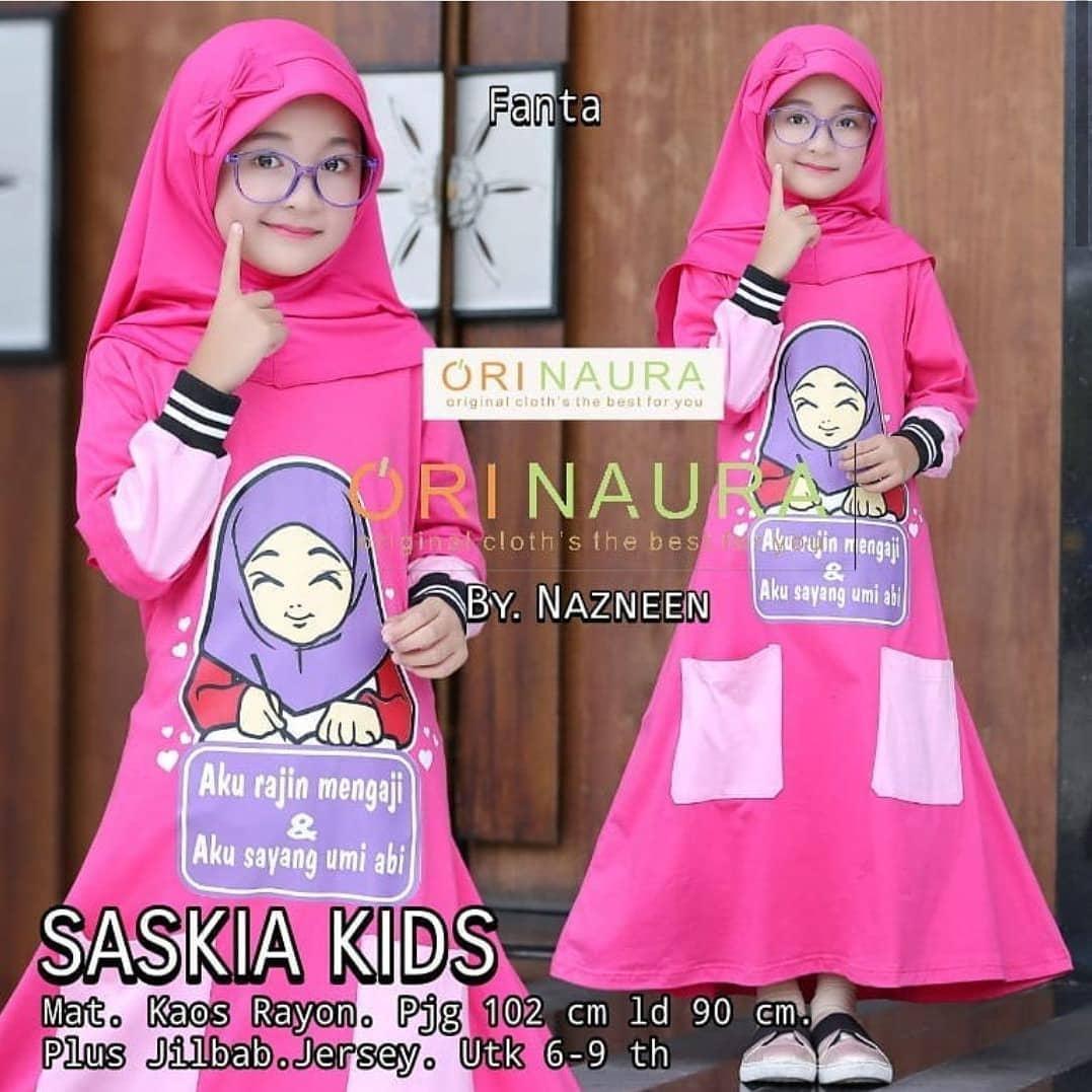 Baju Anak Wanita Hijab Modern Original Koleksi FB SASKIA DRESS KIDS PLUS  KHIMAR Fashion Pakaian Casual f62be510fa