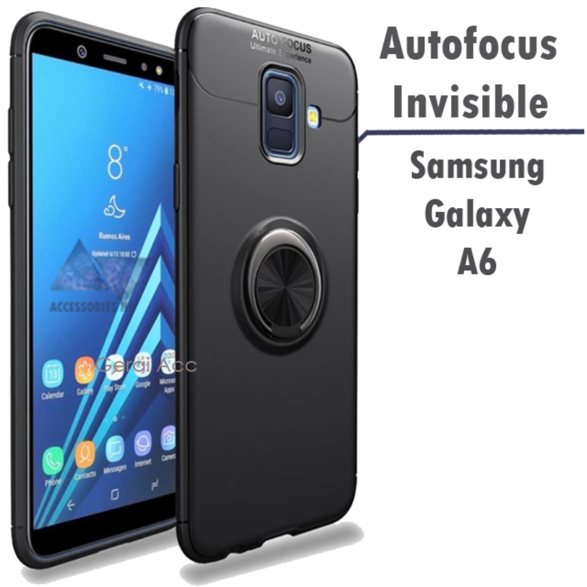 Accessories Hp Samsung Galaxy A6 2018 Premium Socket Case BackCover Anti ShockProof 360 Rotation - Hitam