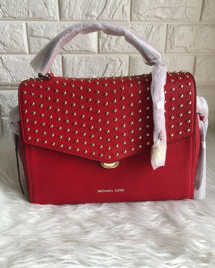 TERBARU DISKON 50%  Tas michael kors original - MK bristol medium satchel bright red  PROMO