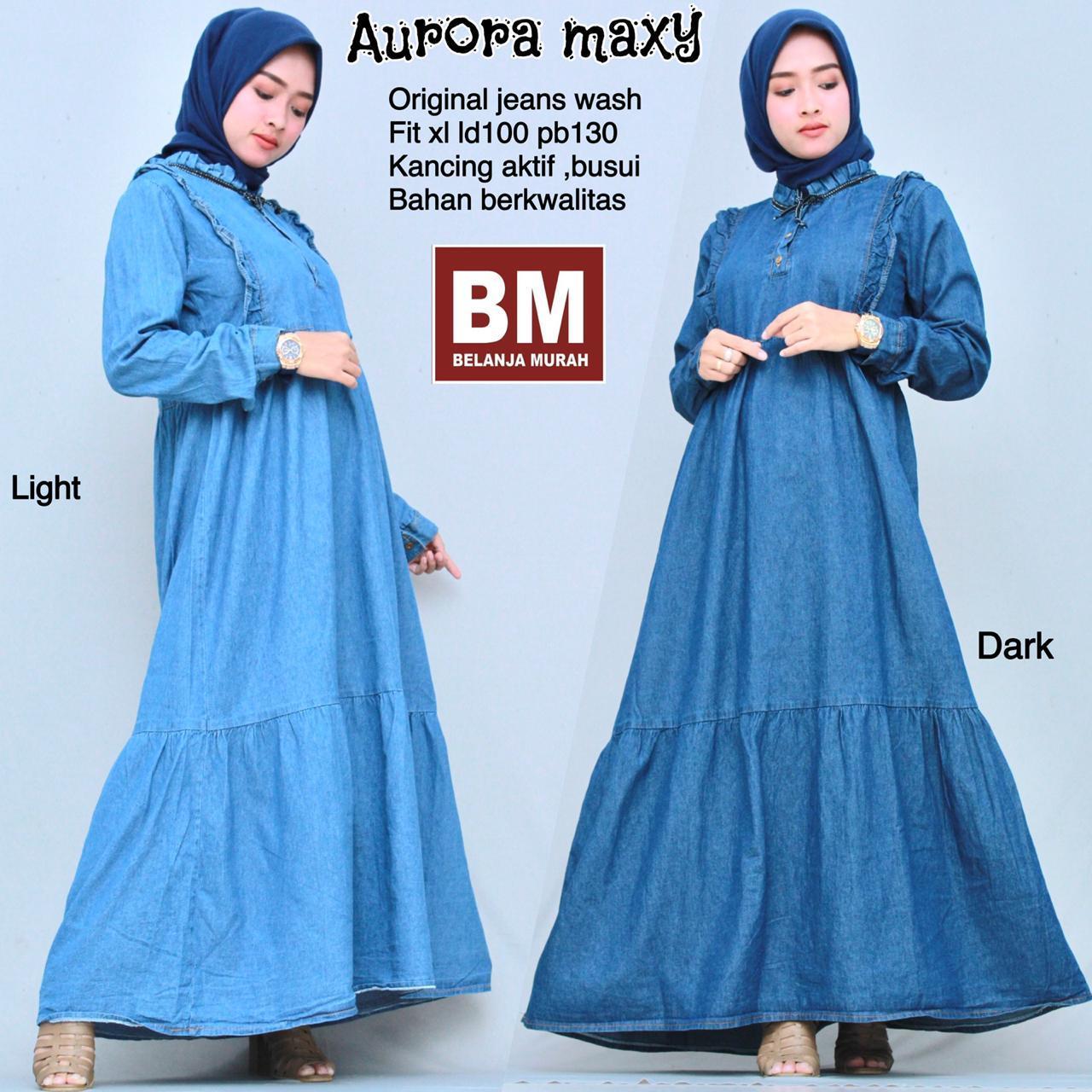 Aurora Maxy - pakaian wanita - dress - baju muslim - fashion wanita -dress bahan jeans