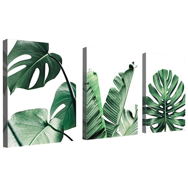 Simple Green Leaves Canvas Art Tropical Plants Artwork Minimalist Watercolor Painting Wall Decor for Bathroom Living Room Bedroom Kitchen Canvas Prints 12x16 Inch 3Pcs