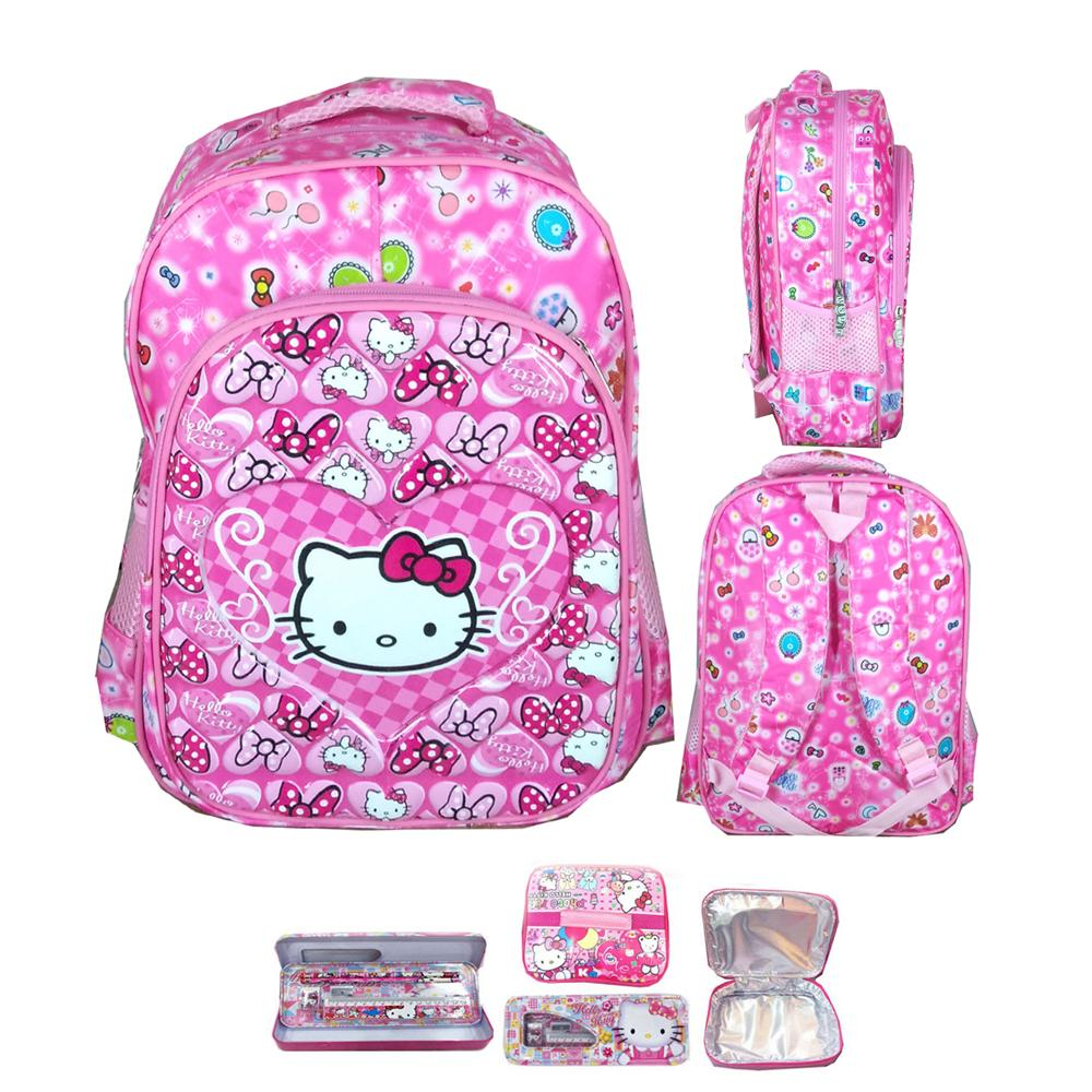 BGC Tas Ransel Sekolah Anak TK Hello Kitty Love IMPORT High Quality + Lunch Bag Aluminium
