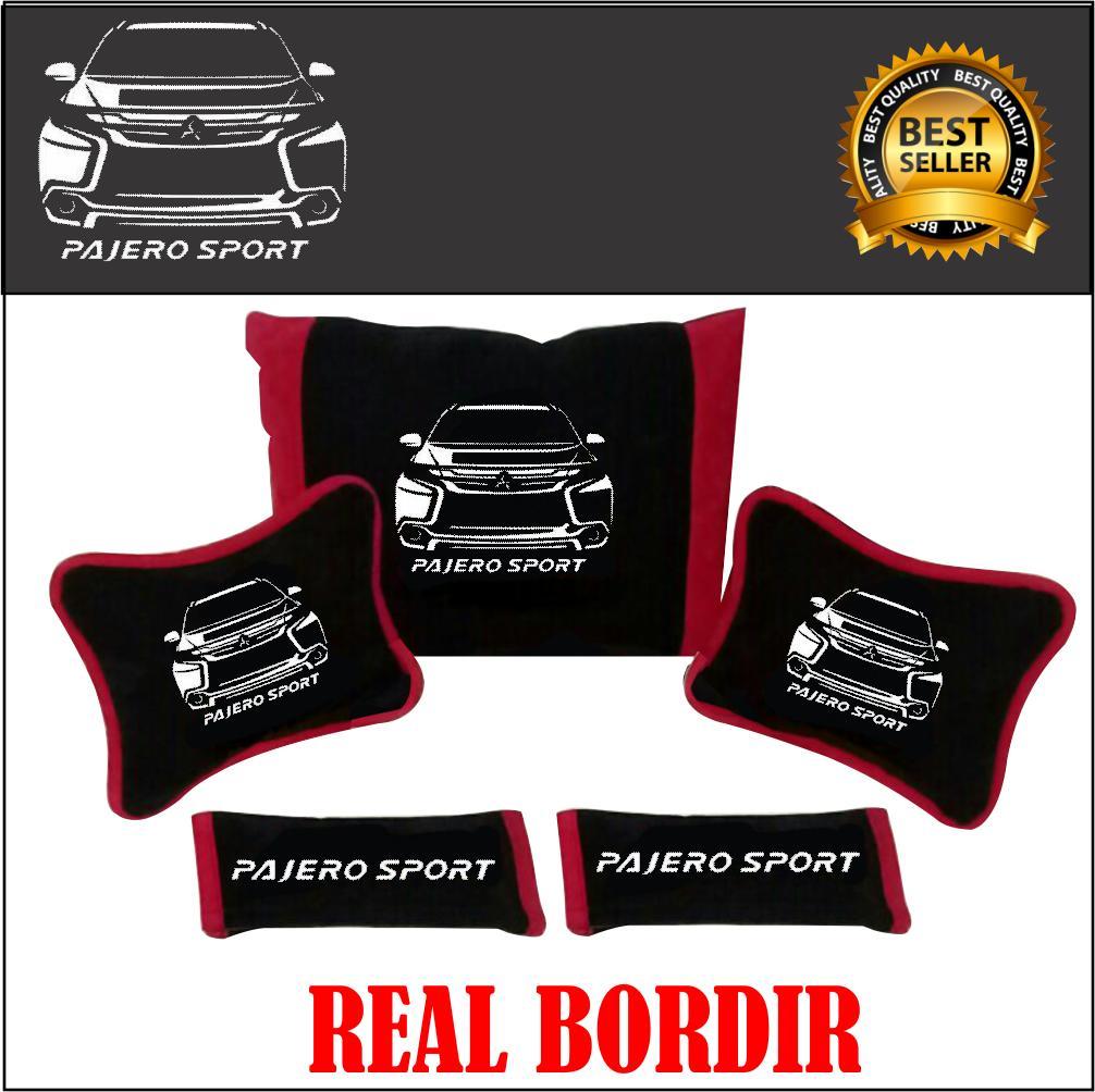 Bantal Mobil PAJErO SPORT NEW Headrest Bordir Siluet Hitam Merah