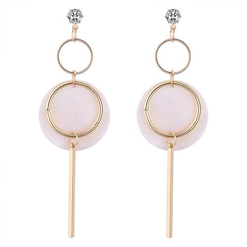 LRC Anting Tusuk Elegant Beige Vertical Shape Decorated Long Earrings Y59428