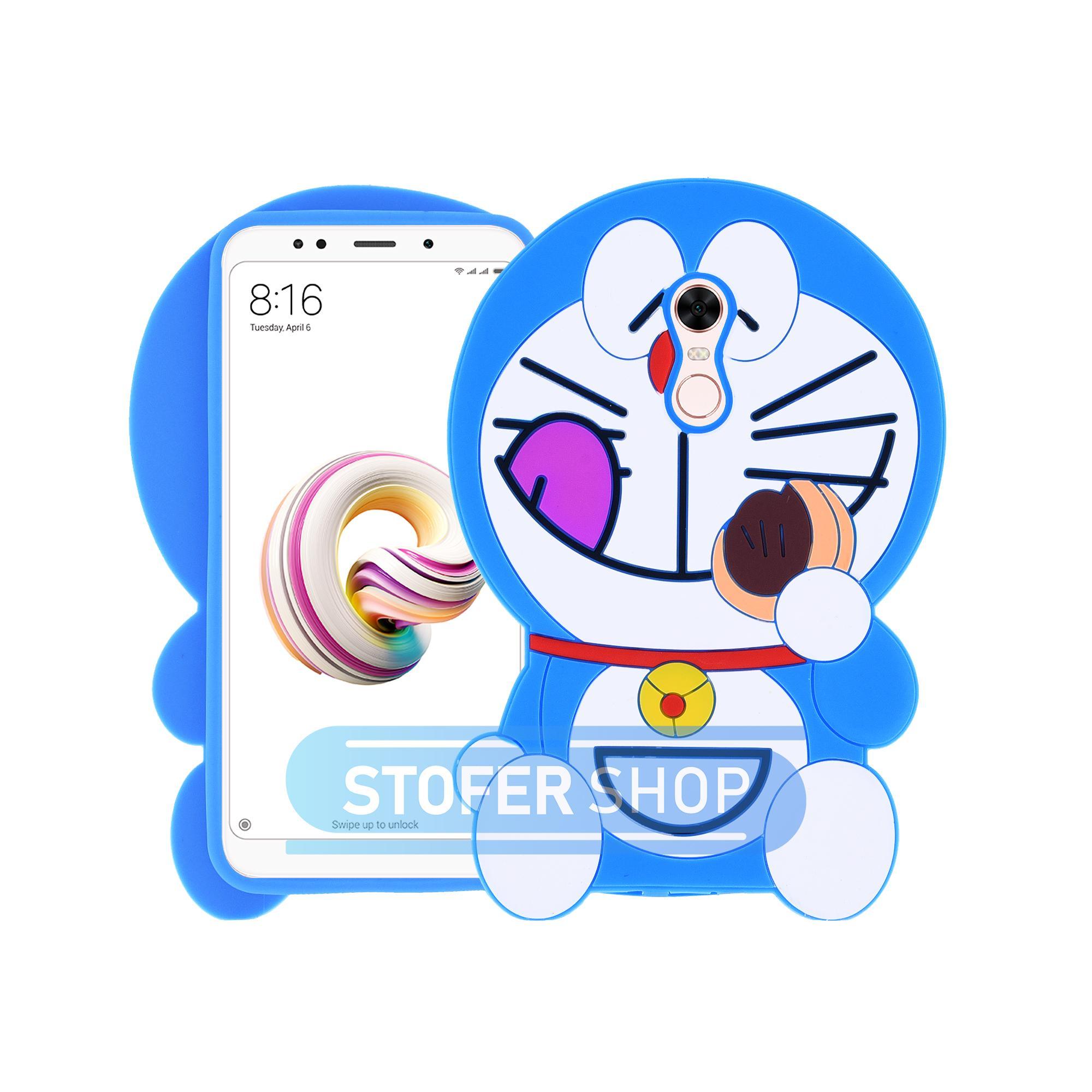 3D Case Xiaomi Redmi 5 Plus Softcase 4D Karakter Boneka Doraemon Dorayaki Redmi