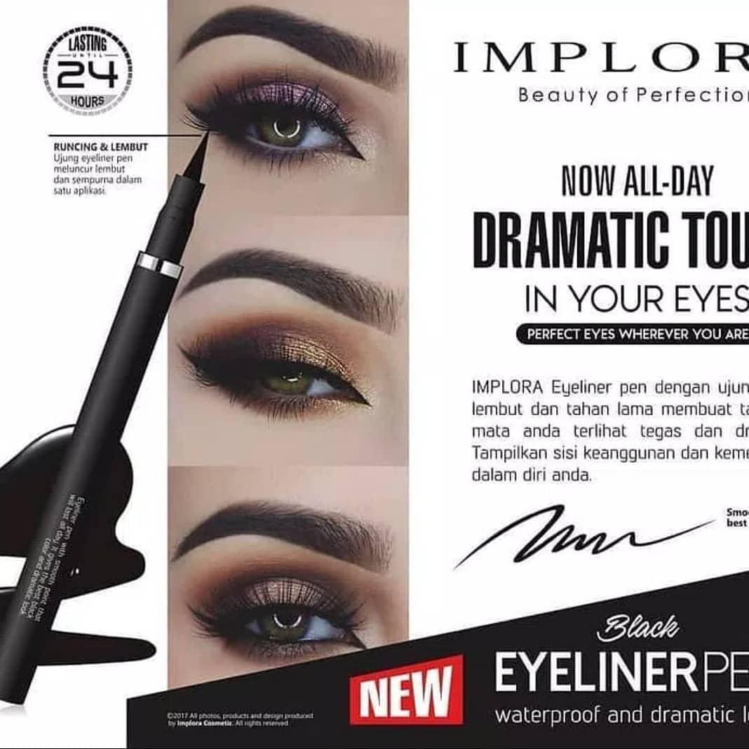 Implora Eyeliner Pen Waterproof And Dramatic Look - Black