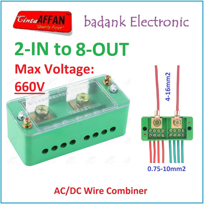 AC/DC Wire Combiner (2-IN to 8-OUT) Junction Box Solar Panel Surya - sedia paket lengkap power bank 900 mini 100wp 12v cas hp paket mini charger aku cell terumah raman terbesar transparan portable pembangkit listrik harga promo