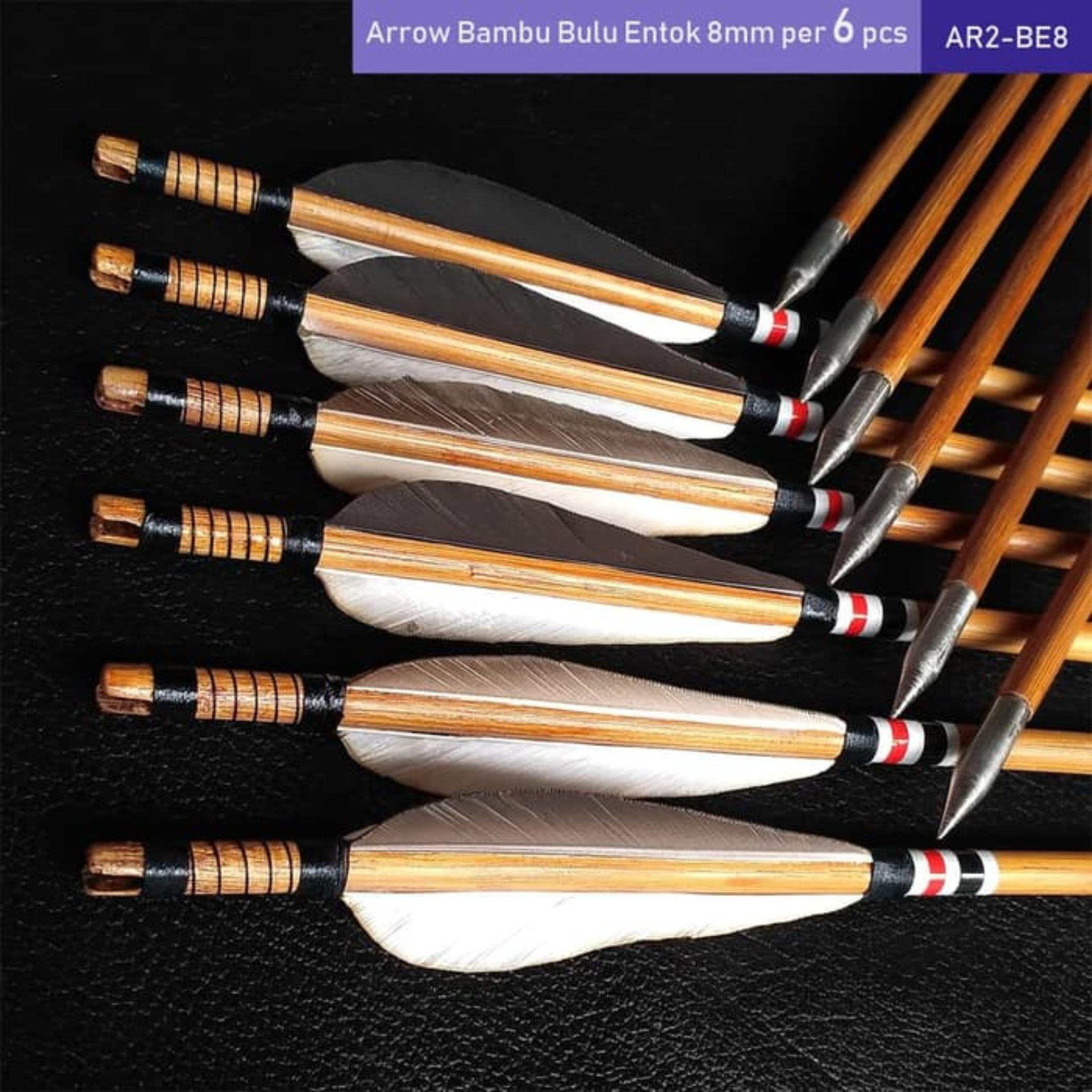 Anak Panah Bambu 8mm Per 6 Pcs - Arrow Kayu Petung - Anak Panah Bambu Bukan Carbon Alumunium Fiber - Panahan Archery Bergaransi - Papan Karet Sasaran Arrow  Busur