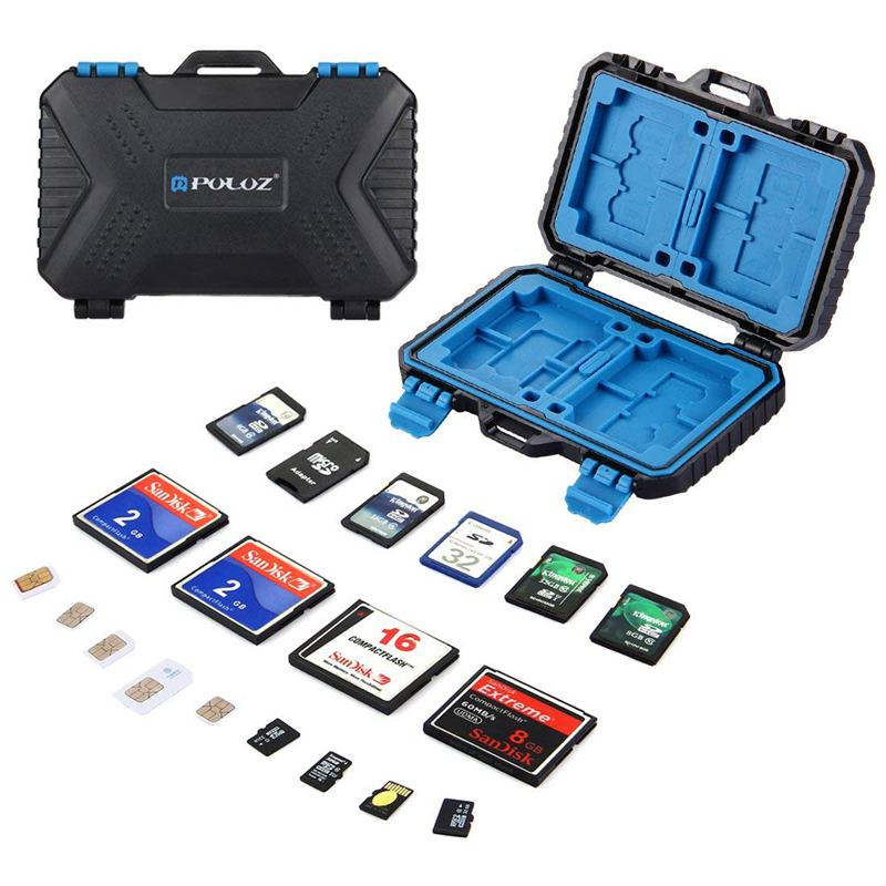 Giá PULUZ Waterproof 27 Slots Memory Cards Case Stocker Shell Protector Cover Storage Box, Capacity: 4CF + 8SD + 9TF + 1Card PIN + 1Standard SIM + 2Micro-SIM + 2Nano-SIM + 1Card Pin