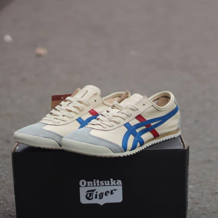 Sepatu Asics Onitsuka Tiger Mexico 66 Cream Blue Red Premium Quality By Shoes12