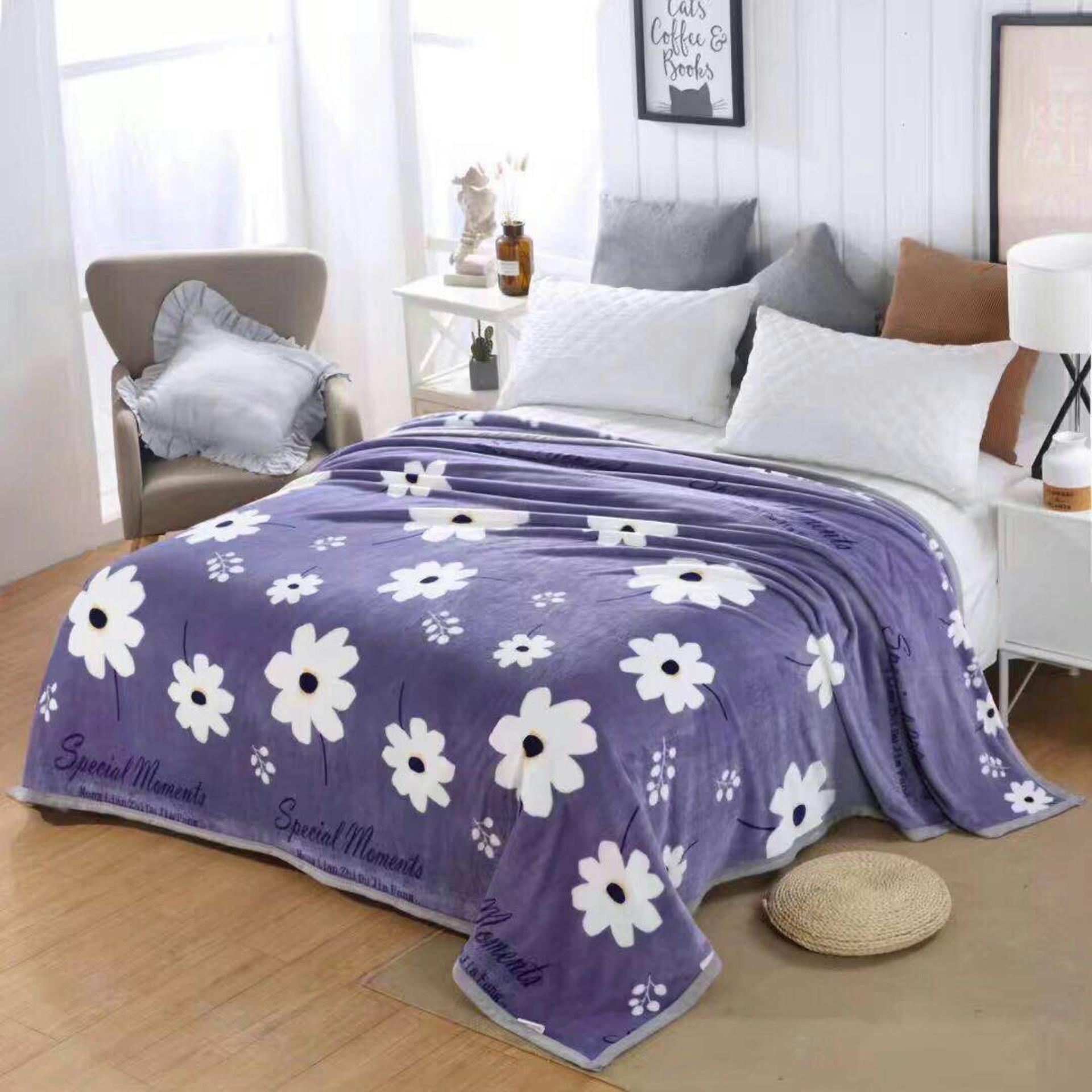 selimut bulu halus motif kembang cantik impor 150x200 termurah