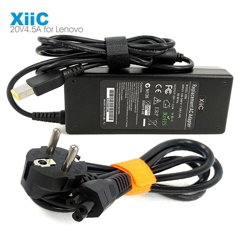 XiiC 20v 4.5a 90w Rectangle Port Laptop Adapter AC Power Charger for Le-no-vo Thinkpad T440 Z510 G510 G50 E431 and Cable