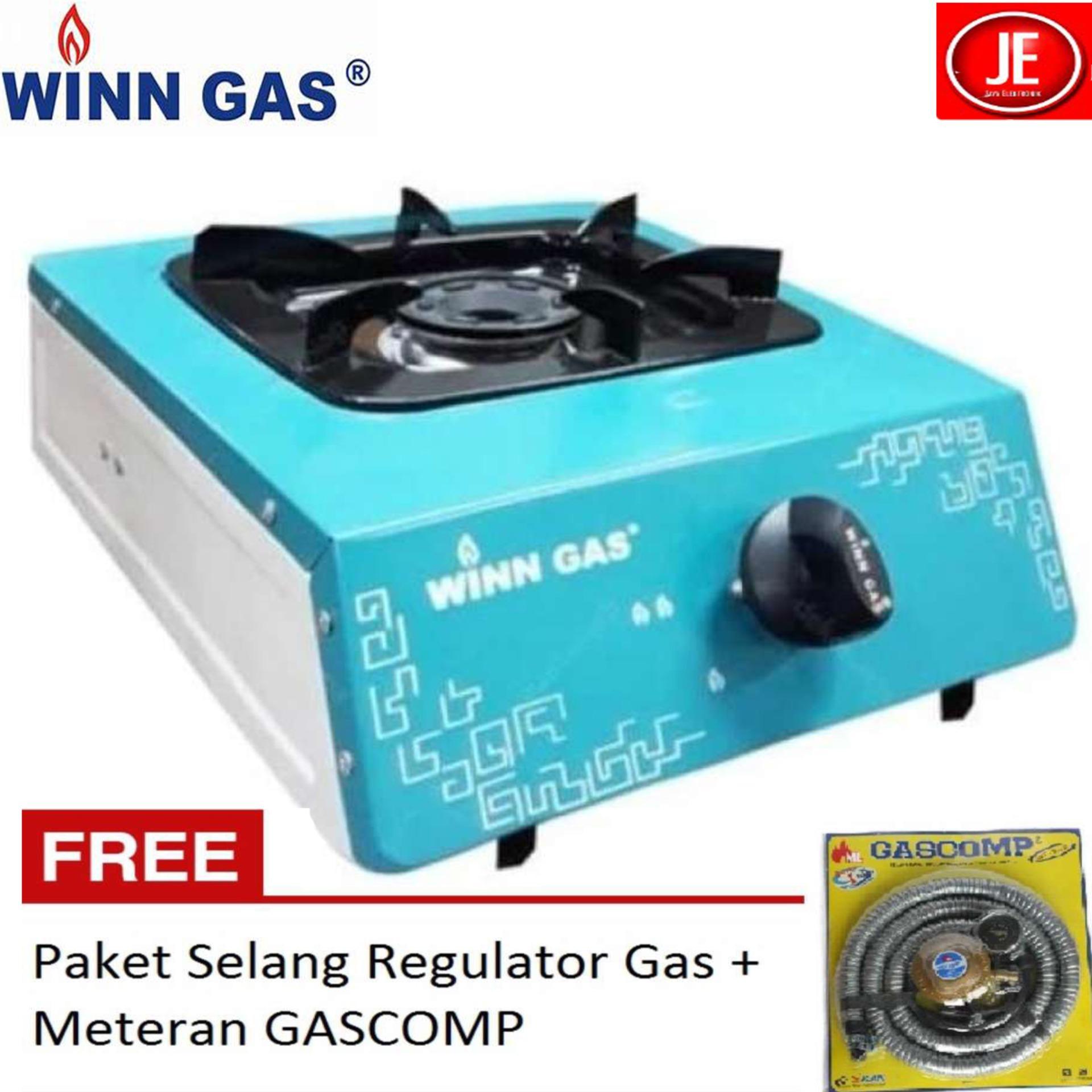 WINN GAS Kompor Gas Stainless 1 Tungku W-188 FREE Paket Selang Regulator GAS COMP