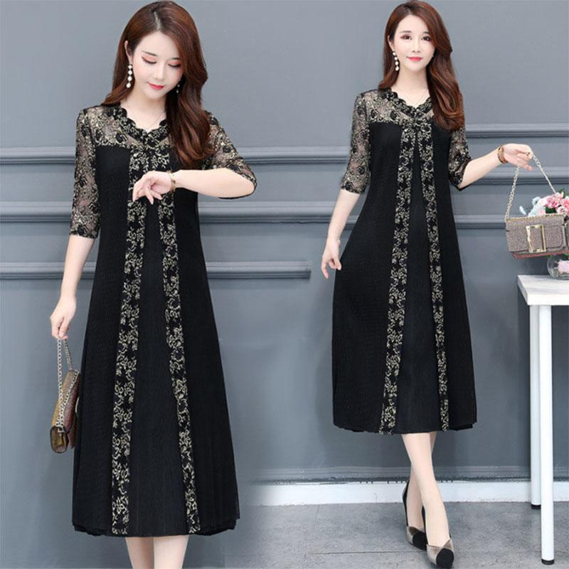 Women's Clothing High Quality Retro 2019 Spring New Arrival Round Collar Two Pieces Lace Vest Flower Embroidery Cake Style Woman Long Dress