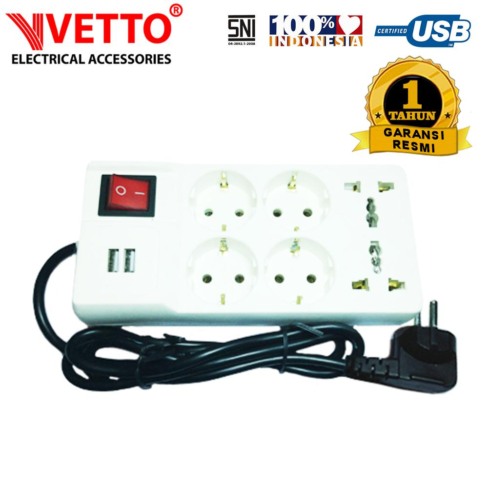 VETTO Stop Kontak V8206 R7 1.5M Universal SNI & 2x 2.1A USB 3.0