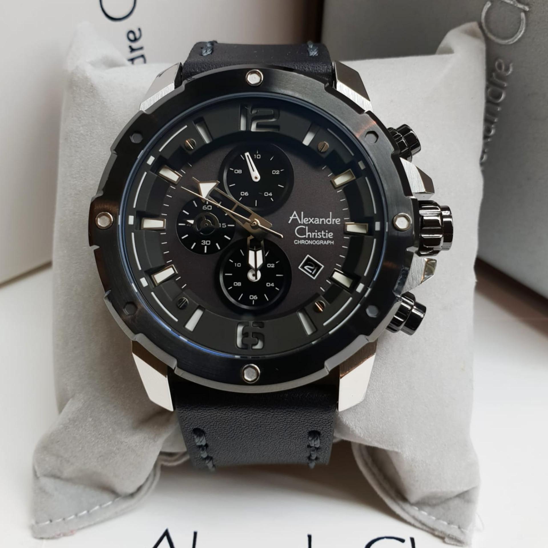 Alexandre Christie AC6410 Original Jam Tangan Pria Tali Kulit Hitam Silver f356d75c23