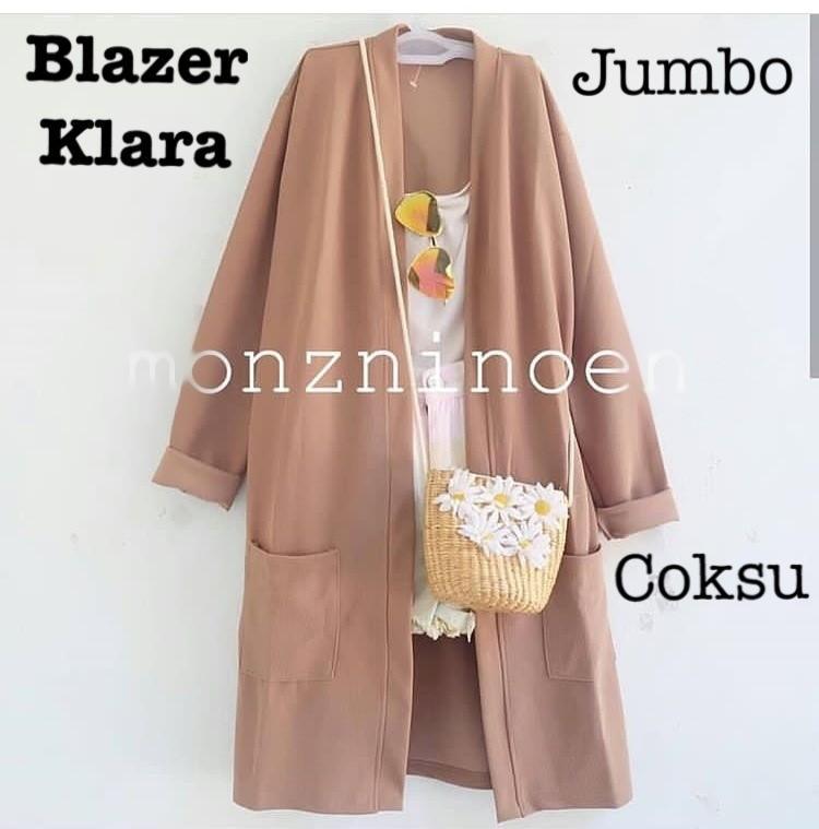 Harga Grosir Termurah Blazer Klara Jumbo Bahan Babyterry Premium / Blazer Korea / Blazer Panjang Wanita