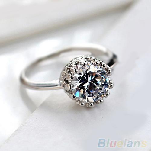 Anting Wanita Bluelans® Mewah Putaran Potong Cz Putri Mahkota Pengantin Cincin Tunangan Pesta Pernikahan By Bluelans.