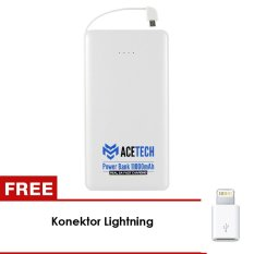 Daftar Harga Acetech Power Bank Note Slim With Micro Cable 11000Mah White Konektor Lightning Acetech
