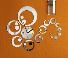 Toko Acrylic 3D Diy Dekorasi Rumah Fashion Permukaan Cermin Lingkaran Wall Stiker Jam Dial Lengkap