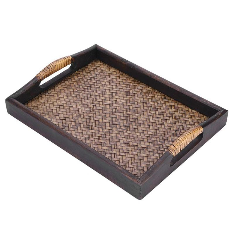 Multi-Functional Wooden Serving Trays With Handle Rectangle Handmade Rattan Bamboo Tea/Oil Trays Dessert/Coffee/Fruits Plate 30.5 x 23 x 3.8Cm