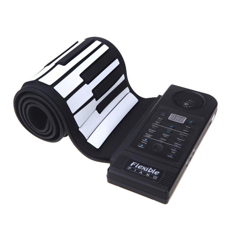 Flexible Piano 61 Keys Electronic Piano Keyboard Silicon Roll Up Piano Sustain Function USB Port with Loud Speaker(US plug) Malaysia